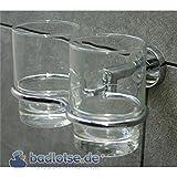 KAIRO Zahnputzbecher-Halter Zahnputz-Glas Wandhalter Wandmontage Set