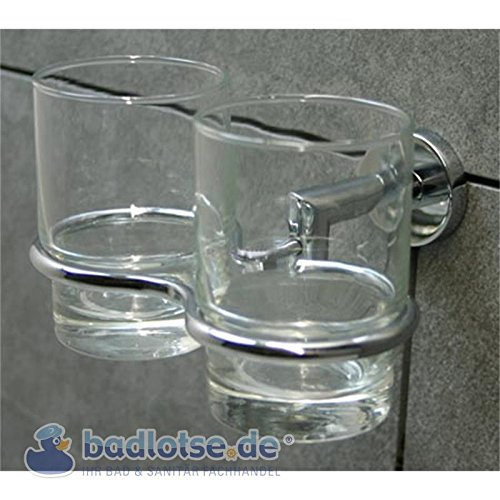 KAIRO Zahnputzbecher-Halter Zahnputz-Glas Wandhalter Wandmontage - Glas-zahnputzbecher