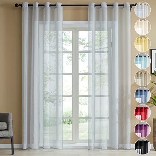 Topfinel Voile Vorhänge Leinenstruktur mit Ösen Durchsichtig Einfarbig für Fenster Wohnzimmer Schlafzimmer Moderne und Elegante Gardine 2er Set je 160x140cm (HxB) Grau