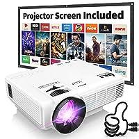 """DR. J Profesyonel HI-04 1080P, 170 """"Ekranlı 4 İnç Mini Projektör Desteği - 40.000 Saat LED Full HD Video Projektörü, HDMI ile Uyumlu, USB, SD (En Son Güncelleme)"""