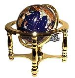 Unique Einzigartige Kunst 25,4cm hoch Tisch Top Lapislazuli blau Ocean Edelstein World Globe mit 4Bein Gold Ständer