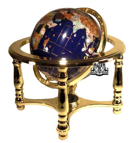 Bein, Messing-ständer (Einzigartige Kunst 25,4cm hoch Tisch Top Lapislazuli blau ocean Edelstein World Globe mit 4Bein Gold Ständer)