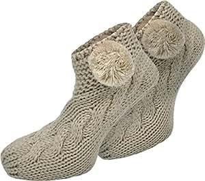 1 Paar Damen Grobstrick Socken mit Bommel und ABS - ideal als Hausschuhersatz geeignet Farbe Sand Größe 35/38