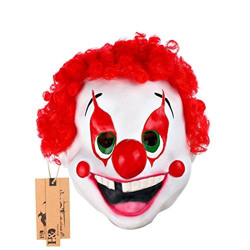 hyalinität & Dora Latex Funny Clown Maske mit Haar für Erwachsene, Halloween-Kostüm Party Masken clown (Für Erwachsene Halloween Dora Kostüm)