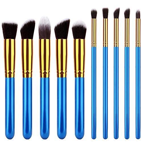 Dosige 10 pcs Set Multifonctionnel Pinceaux Professionnel Pinceaux de Maquillage Yeux Brosse de Brush Cosmétique Professionnel - Poignée Bleue