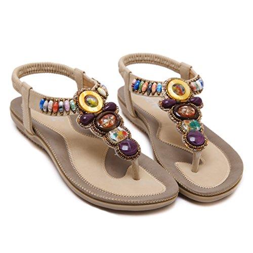 Scarpe da Spiaggia - Landove Sandali Donna Estivi Bassi Boemia Stile Etnico Infradito Perline con Strass Beige
