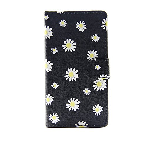 Etsue Case pour iPhone 7,Premium Folio Cuir Portefeuille Housse pour iPhone 7,Support Flip PU Leather wallet Case Cover pour iPhone 7,Slim-Fit Smart de Coque avec Card Holder Etui pour iPhone 7 + 1x B Fleur Marguerite
