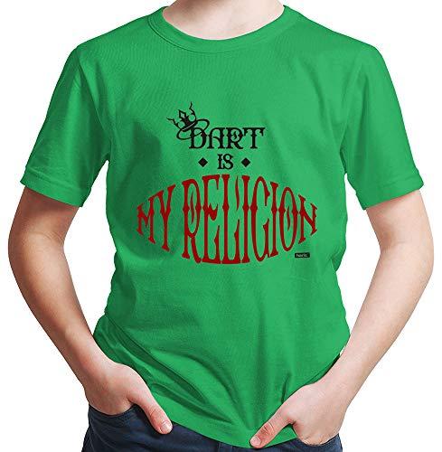 HARIZ  Jungen T-Shirt Dart is My Religion Dart Darten Dartpfeile WM Inkl. Geschenk Karte Grün 152/12-13 Jahre (S Halloween-die Devil Geburtstag Ist)