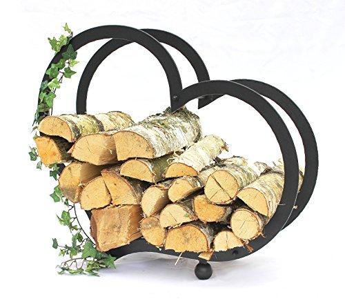 DanDiBo Kaminholzregal Herz Kaminholzständer 65 cm Holzkorb Kaminholzhalter Holzregal