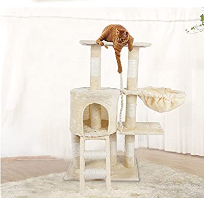 Pet Cat Tree, Deluxe Multi Level Cat Tower with Scratch Scratching Climb Post Activity Toys Cat Tree Bed House, 30cm x 55cm x 96cm