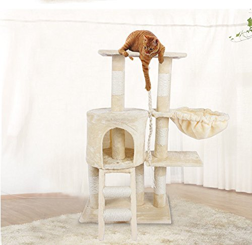 Pet Cat Tree, Deluxe Multi Level Cat Tower with Scratch Scratching Climb Post Activity Toys Cat Tree Bed House, 30cm x 55cm x 96cm (Beige)