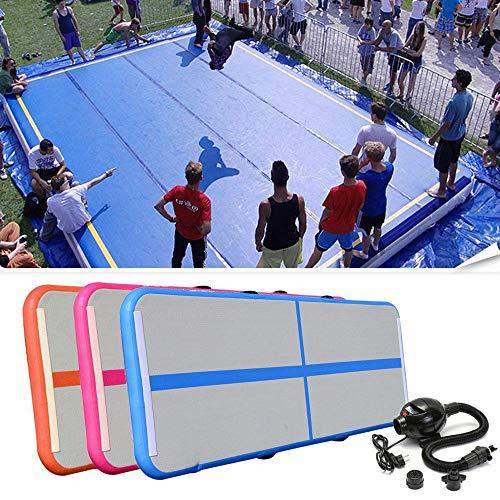 FidgetGear Air Track Floor Home Gymnastikmatte, aufblasbar, für das Fitnessstudio, White+Blue - Home Track