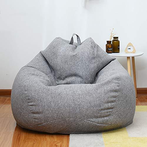 Komfort Sac-schaum (Smile Sitzsack: Großer 3 'Memory Foam Möbel Sitzsack - Großer Sofabezug - Leinenstoff, abnehmbar und waschbar,Gray,S)