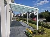 Terrasseüberdachung / Terrassendach Classico S 4000 x 2500mm aus Aluminium mit VSG Glas klar 10.2 RAL 9016 Verkehrsweiß