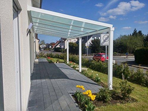 Terrasseüberdachung / Terrassendach Classico S aus Aluminium mit VSG Glas klar 10.2 Bemaßung 4000 x 2000mm in DB703 Eisenglimmer