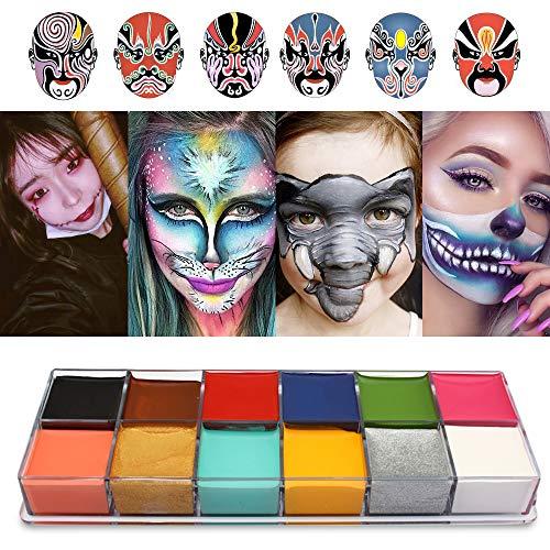 Cara Cuerpo Pintura Imagic marca Flash 12colores caso Halloween Fancy Dress–Pintura al óleo arte belleza...