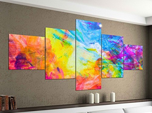 Bunte-kunst-druck (Leinwandbild 5 tlg. 200cmx100cm abstrakt Kunst bunte Farben Bilder Druck auf Leinwand Bild Kunstdruck mehrteilig Holz 9YA002, 5Tlg 200x100cm:5Tlg 200x100cm)