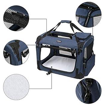 LEMAIJIAJU Caisse de Transport Cage de Transport Pliable Sac de Transport pour Chien et Chat Animal Tissu Oxford Bleu Foncé - M 60cmx40cmx40cm