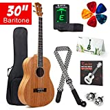 Kmise baryton basse Ukulélé kit de démarrage en acajou Ukulélé Ukele Ukulélé 76,2 cm Hawaii 4 cordes Accordeur de guitare avec housse de rangement Sangle Picks