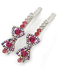 Par de fucsia/rosa/AB 'arco' pelo de cristal de Swarovski en rodio chapado - toboganes de 60 mm de longitud