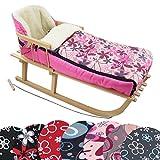 BAMBINIWELT Kombi-Angebot Holz-Schlitten mit Rückenlehne & Zugseil + universaler Winterfußsack (108cm), auch geeignet für Babyschale, Kinderwagen, Buggy, aus Wolle Design (pink rosa Blumen)
