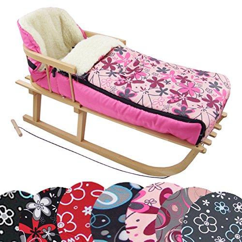 BAMBINIWELT KOMBI-ANGEBOT Holz-Schlitten mit Rückenlehne & Zugseil + universaler Winterfußsack (108cm), auch geeignet für Babyschale,...