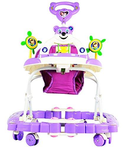 Panda Baby Walker cum Rocker - Height Adjustable, Musical, Push Handle (Purple)