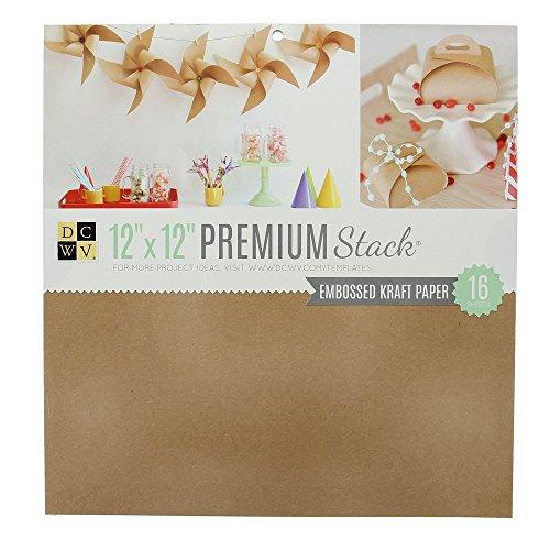 American Crafts DCWV 30cm x 30cm Premium Cardstock Stack - Embossed Kraft Paper - 16 Sheets
