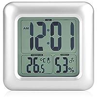Reloj impermeable digitale reloj silencioso para baño LED reloj despertador digital con temperatura, retroéclairage, humedad, 4ventosas Ultra Forte para cuarto de baño cocina Salon