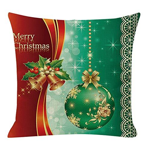 Fenverk Weihnachten Kissenbezug Merry Christmas bettwäsche deko Kissenbezug Elch Weihnachtsmann Glocke Elf Rentier Rudolph Weihnachtsmann Sofa kissenhuelle 45x45cm(D)