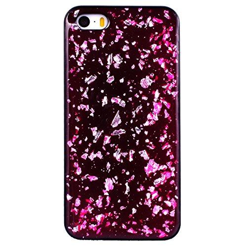 WE LOVE CASE iPhone 5S / 5 / SE Hülle Glitzern Schwarz Lila iPhone 5S / 5 / SE Hülle Silikon Weich Handyhülle Tasche für Mädchen Elegant Backcover , Soft TPU Flexibel Case Handycover Stoßfest Bumper , rose Red