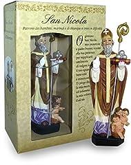 Idea Regalo - Statua di San Nicola di altezza 12 cm con segnalibro in confezione regalo