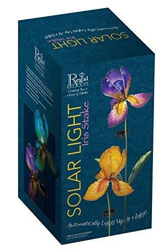 PURPLE IRIS Flower Solar Light Garden Stake Creekwood Regal Art /& Gift Boxed
