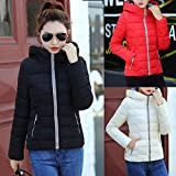 Theshy_Women Coats Women Winter Warm Solid Coat Hooded Thick Warm Slim Jacket Overcoat Tops,White,Pink,Black,Red,S,M,L,XL,XXL,Polyester