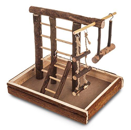 livivo® Natural Holz Vogel Spielplatz Wellensittich/Kanarienvogel Leiter Swing Sitzstange Pet Fun klein