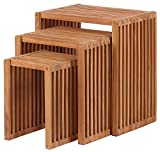 Mr. Deko Teak Beistelltische 3er Set - Tisch - Gartentisch - eckig - stapelbar - Outdoormöbel - Teakholz - für Balkon, Terrasse, Wintergarten, Garten