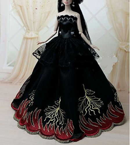 Vintage Puppe Barbie Kostüm (AK010 Abendkleider: Schöne und modische Handgefertigte Puppe Kleidung/(Puppen nicht im Lieferumfang enthalten) (schwarz)