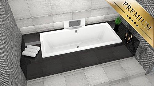PREMIUM Rechteck Badewanne Acryl NORA 180x80 cm mit Wannenträger, Füßen und Ablaufgarnitur GRATIS