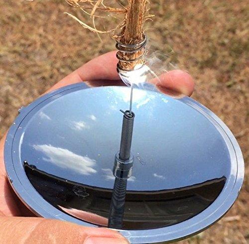PriMI Sonnenfeuerzeug als Parabolspiegel, geeignet für den Außenbereich, Camping, als Überlebens-Ausrüstung, solarbetrieben, zum Feuer machen