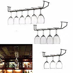 Generic Champagne Stemware Holder Chrome Plated Wine Rack Glass Cup Kitchen Wall Bar Hanger Enclosed Stainless Steel Screw 27/35/55cm 28CM