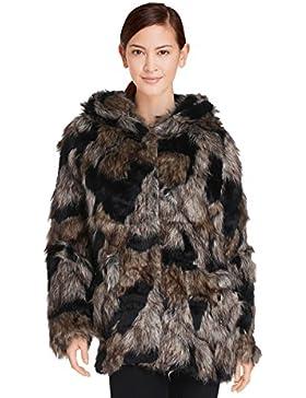 Cherry Paris– Abrigo con capucha de piel sintética de dos colores y con botones a presión para mujer