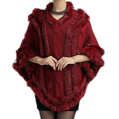 FOLOBE Frauen Fr¨¹hling und Herbst neue Pelz Cape Cape Haar gestrickte V-Kragen stricken Schal Mantel Umhang (Pelz Cape Getrimmt Faux)