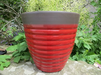 Firenze Vaso-ricchi colori rosso o blu a righe, smussato-Design moderno