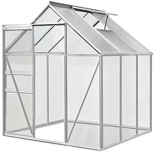 Serre de jardin en aluminium 5,85m³ avec fenêtre et gouttière - M4