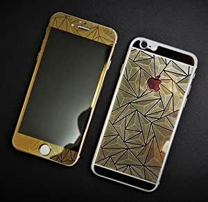 Kapa 3D Diamond Pattern Mirror Front + Back Tempered Glass Screen Protector for Apple Iphone 6 Plus / 6S Plus - Gold