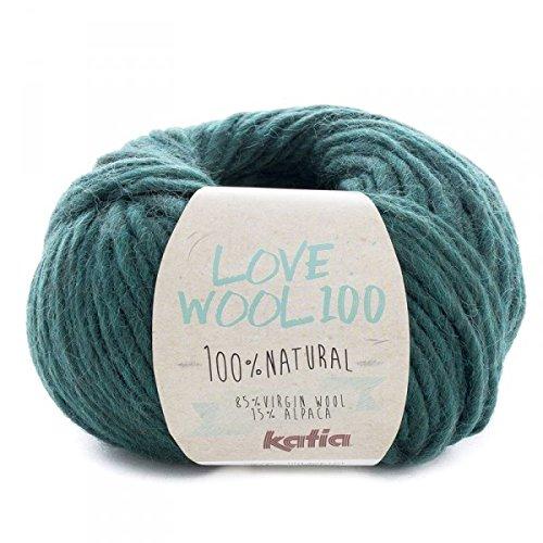 Katia love wool 100, colore botella (211), lana con alpaca per lavoro a maglia e uncinetto per ferri di spessore 7 - 9 mm, 100 grammi circa 100 metri di lana alpaca