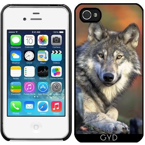 Leder Flip Case Tasche Hülle für Apple iPhone 5/5S - Wolf Tier Wildtier Niedlich by Grab My Art Starre Kunststoff