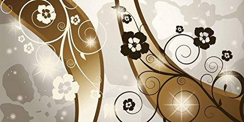 Artland Echt-Glas-Wandbild Deco Glass Jule Braune Wirbel mit Blumen und Reflektionen Abstrakte Motive Muster Digitale Kunst Braun 50 x 100 x 1,1 cm B0DM