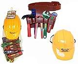 Plastic Construction Helmet Toy Hard Hat Builder Workman Tool Belt With Tools - KandyToys - amazon.co.uk