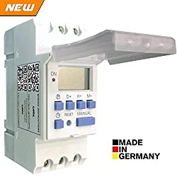 Euro Din Type Digital Timer Controller - Made in Germany - Programmable for Daily / Weekly - DIN Rail Mounting